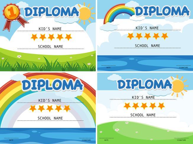 Modello di diploma con quattro sfondi diversi