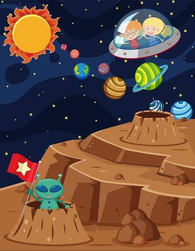 Scena spaziale con bambini che cavalcano in astronave