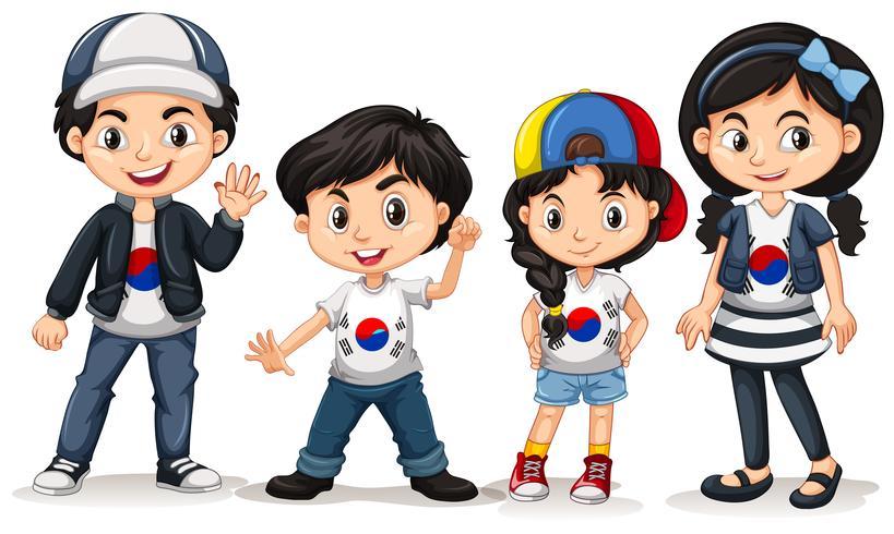 Quatre enfants de la Corée du Sud