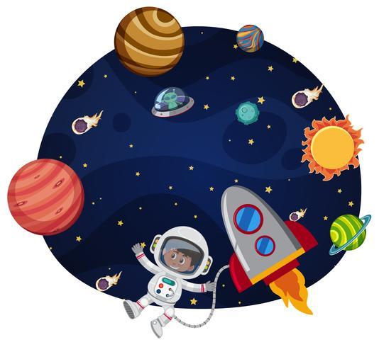 Astronauta en plantilla de espacio