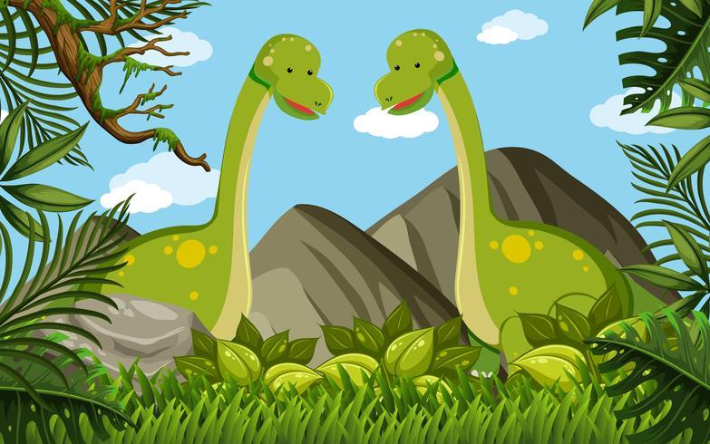 Dois brachiosaurus no campo