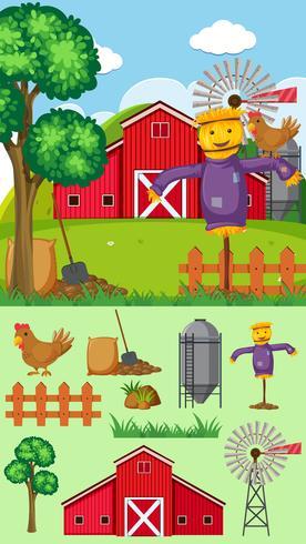 Bauernhofhintergrund mit Vogelscheuche und Scheune