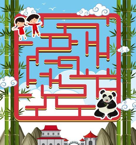 Labyrinthspielschablone mit Panda und Kindern