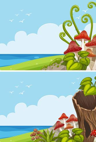 Duas cenas do oceano com cogumelo no campo