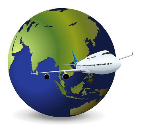 Earth globe and airplane