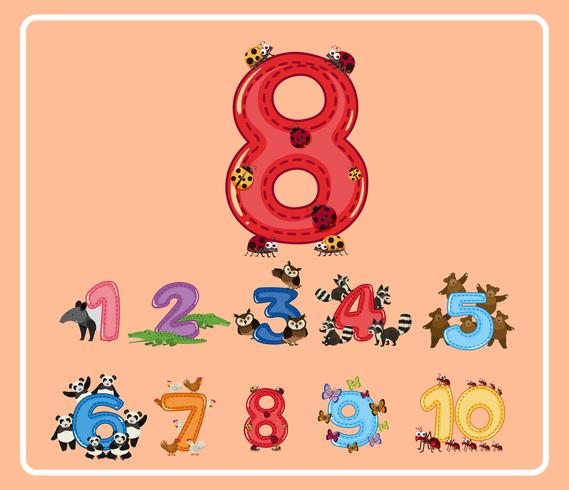 Número oito com pequenos insetos