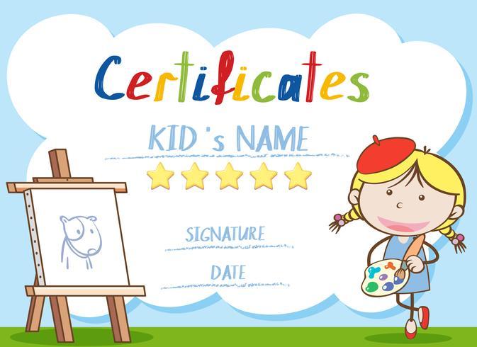 Zertifikatvorlage mit Mädchen malen