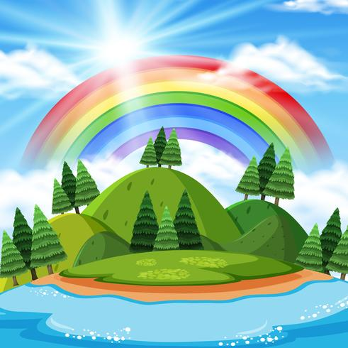 Beautilful Mountain with Rainbow Background
