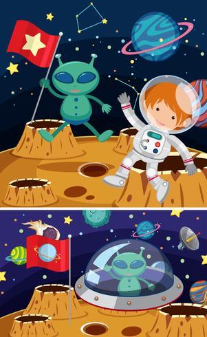 Dos escenas espaciales con alienígenas y astronautas.