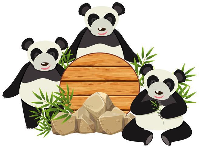 Plateau rond avec trois pandas mignons