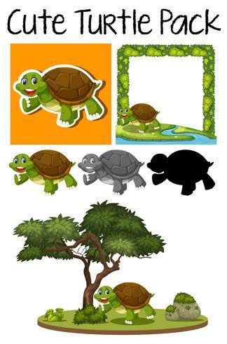 Een pakje schattige schildpad