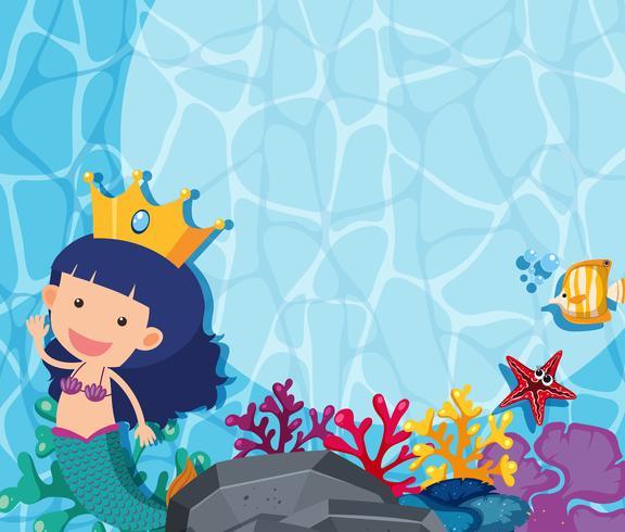 Underwater scene with mermaid and fish