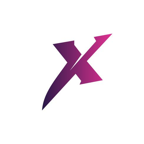 letter x logo. purple logo design concept template