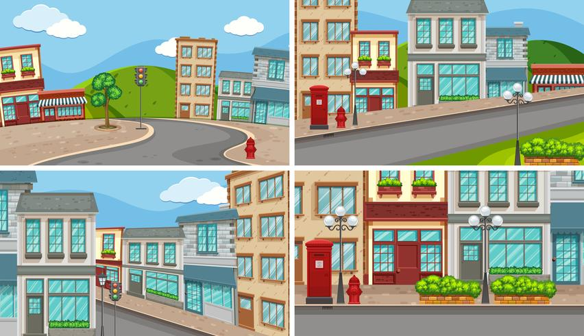 Four city scenes with many buildings and empty roads