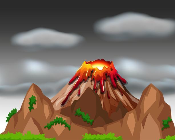 Escena de la naturaleza con erupción volcánica.