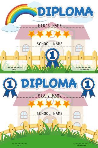 Modello di diploma con edificio scolastico in background