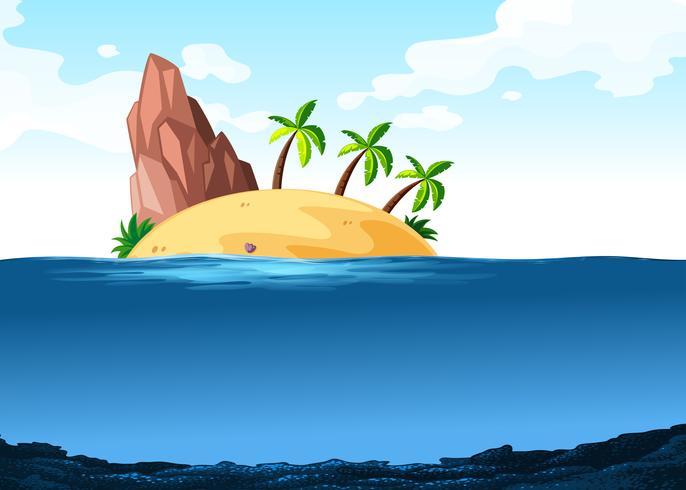 Scen med ö på havet