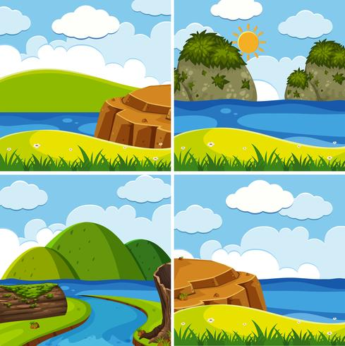 Quattro scene di fiume e lago durante il giorno