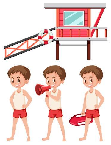 Set van badmeester op witte achtergrond