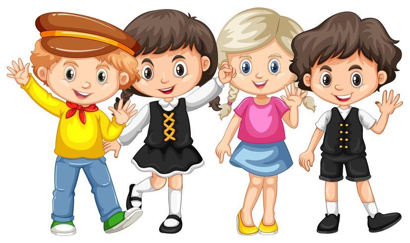 Quatre enfants agitant les mains