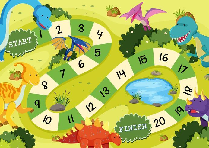 Platte dinosaurus bordspel sjabloon