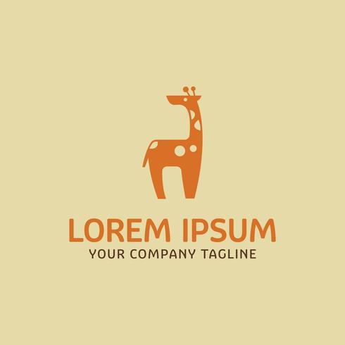 Plantilla de concepto de diseño de logotipo de jirafas lindas vector
