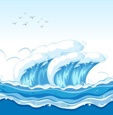 Une grosse vague dans l'océan