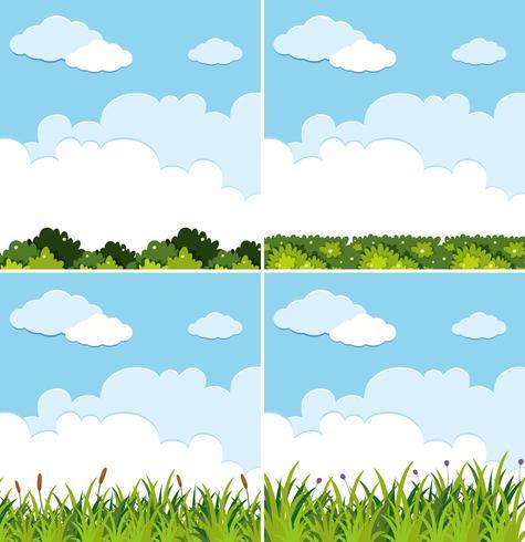 Quattro scene di sfondo con cielo blu ed erba verde