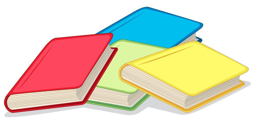 Livros coloridos sobre fundo branco