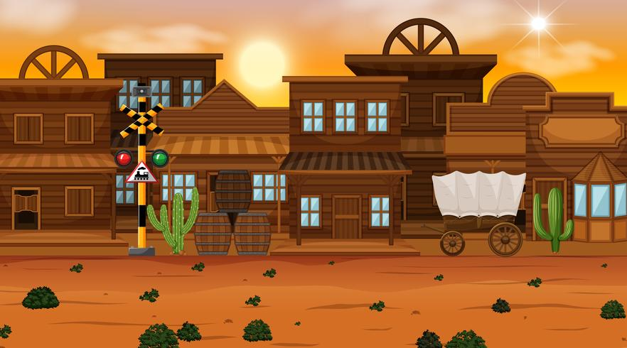 Old desert town scene vector