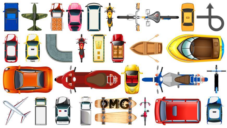 Set van luchtfoto van het vervoer