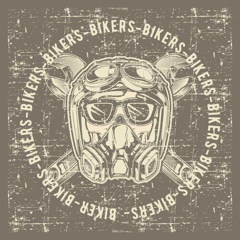 estilo vintage cráneo cráneo motociclistas con casco y llave mano dibujo vectorial vector