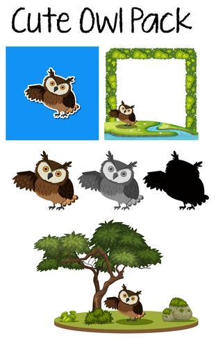 A pack of cute owl