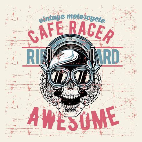 grunge style vintage skull cafe racer hand drawing vector