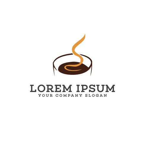 Hot Coffee logo design concept template