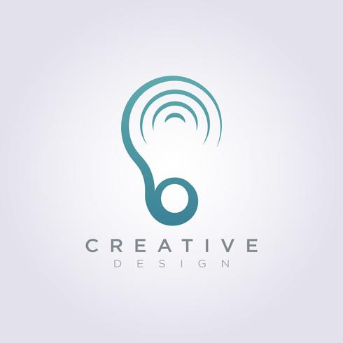 Oído sonido Vector ilustración diseño Clipart símbolo Logo plantilla