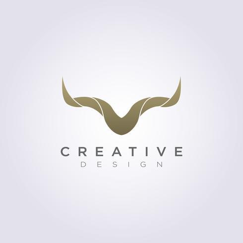 Animal cuerno Vector ilustración diseño Clipart símbolo Logo plantilla