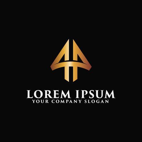 Lettre de luxe Un emblème Modèle de concept de design Logo