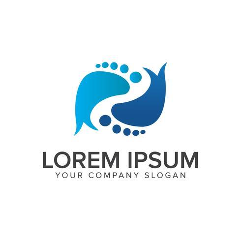 Modello di concetto di progettazione logo impronta gamba