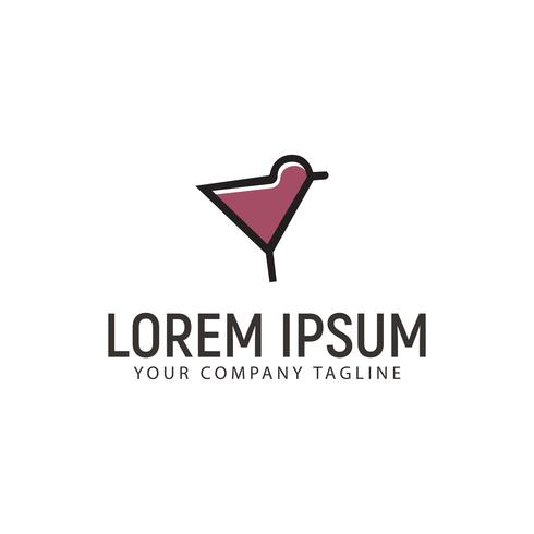 Cocktailvogel Logo-Design-Konzept-Vorlage