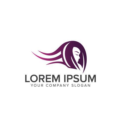 Plantilla de concepto de diseño de logotipo de belleza cabello mujer