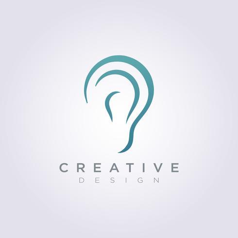 Ear Sound Vector Design de ilustração Clip-Art símbolo logotipo modelo