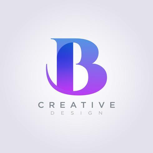 Brev B Vektorillustration Design Clipart Symbol Logo Mall vektor