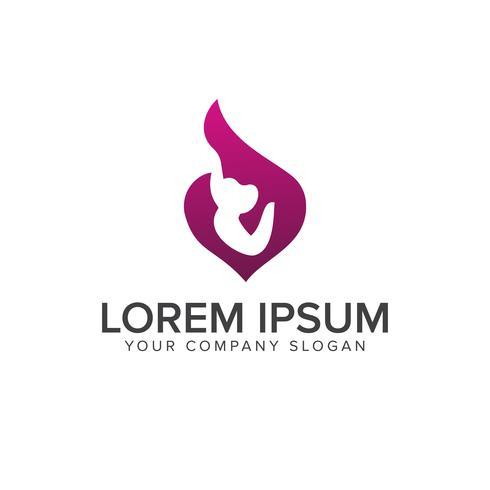 Mutter Umarmung Baby Logo Familie Pflege Menschen Logo Design Konzept Templat