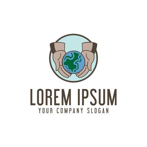Guardar logotipo de la tierra. plantilla de concepto de diseño de ecología