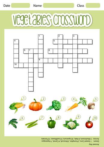 Vegetable crossword sheet template