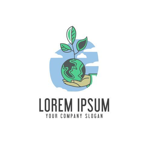 Salve o logotipo da terra. modelo de conceito de design ecologia
