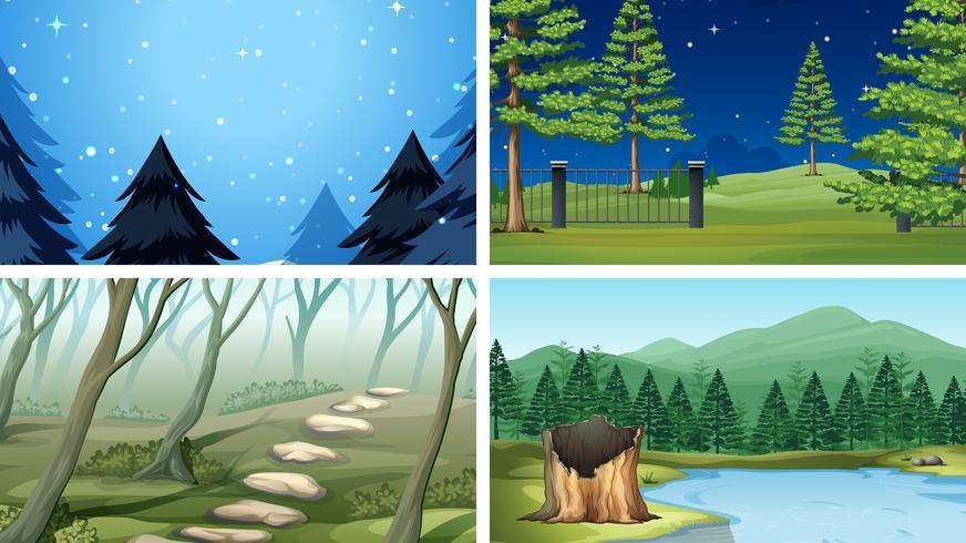 Conjunto de diferentes escenas de madera.