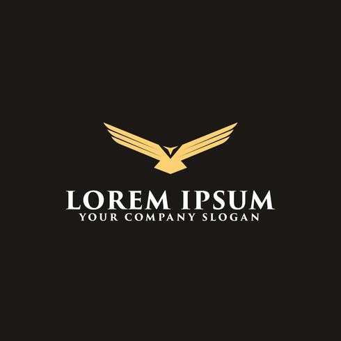 luxury wing bird logo design concept template