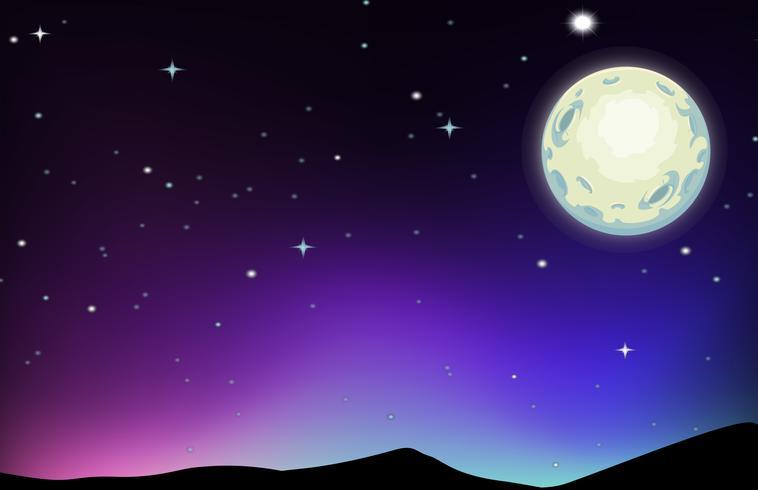 Escena nocturna con luna y estrellas.